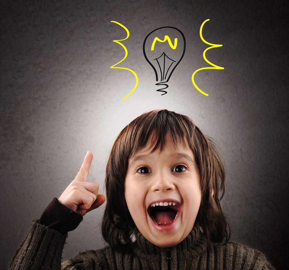 Excellent idea, kid with illustrated bulb above his head-2