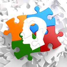 Psychological Concept - Profile of Head with a Keyhole Located on Multicolor Puzzle.-2