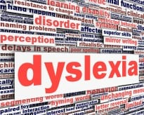 Dyslexia disability message conceptual design. learning disability symbol